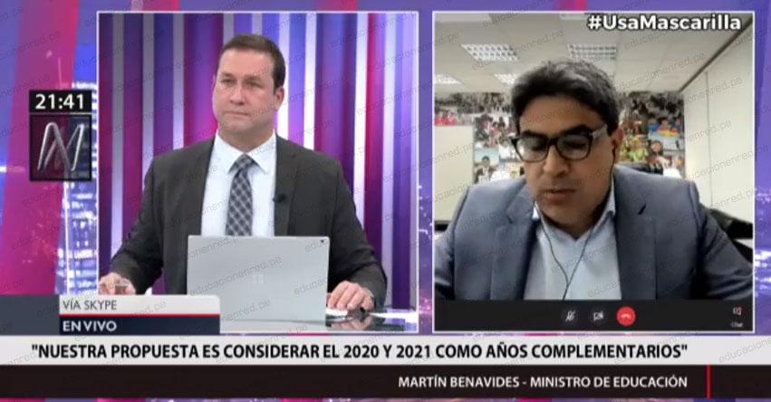 MINEDU: Si un escolar no aprueba este año, tendrá la posibilidad de hacerlo el próximo, precisó el Ministro de Educación, Martín Benavides