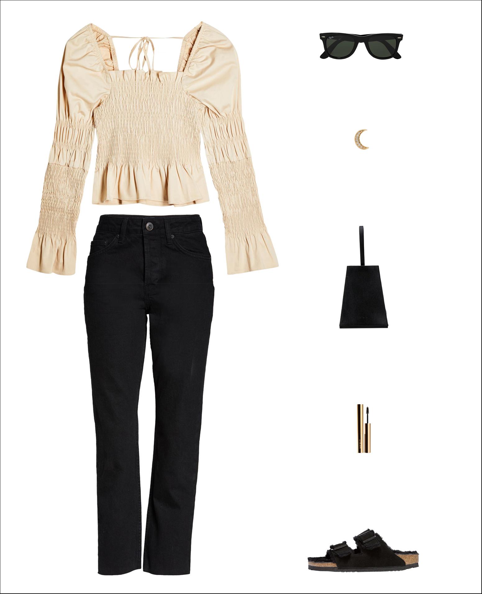 spring outfit idea with a neutral under-$100 ruffle sleeved top, wayfarer sunglasses, crescent moon earring, mini black bag, under-$100 black jeans, Merit brow gel, Birkenstock Arizona shearling slide sandals