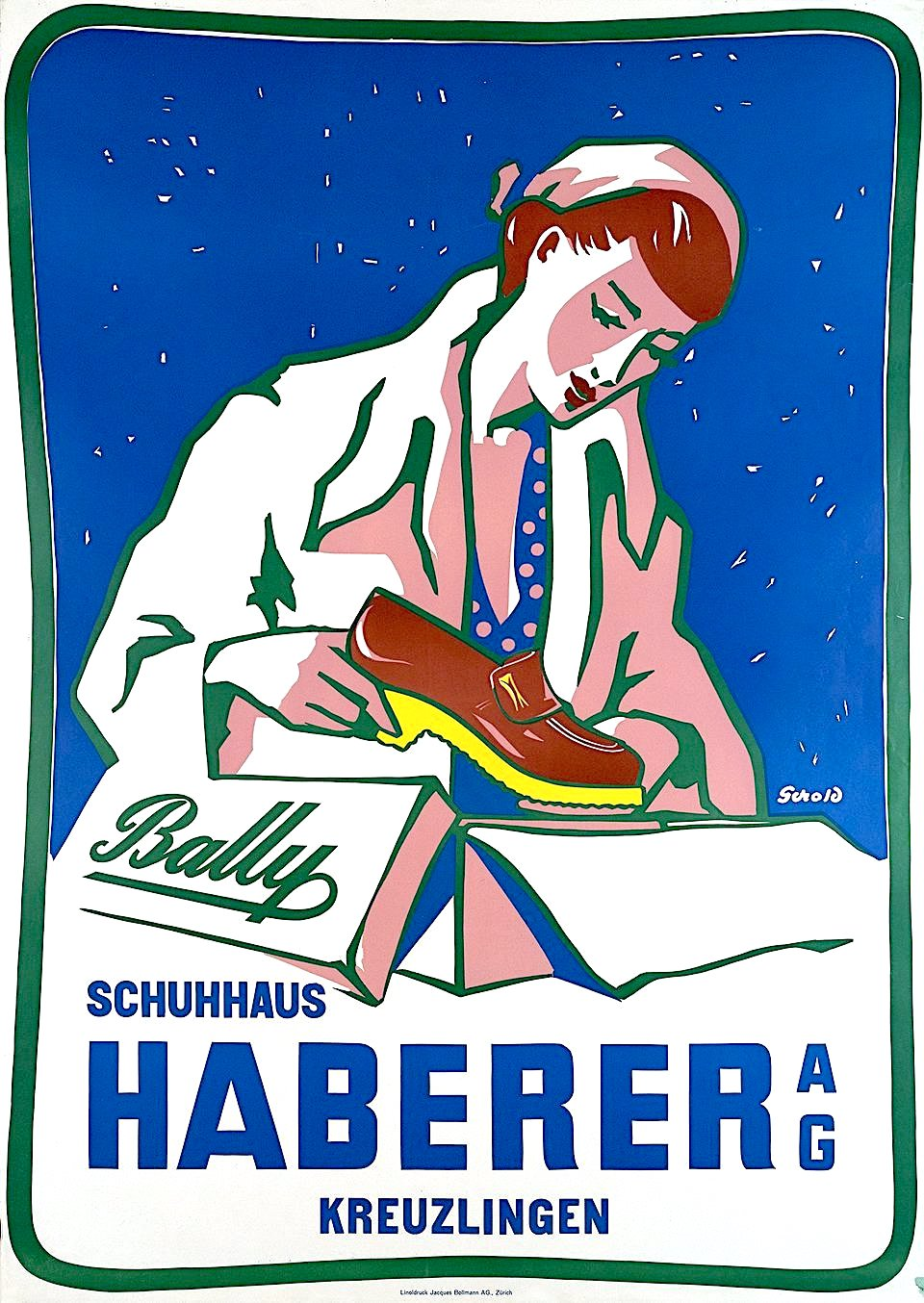 a Gerold Hunziker illustration 1950 for Bally shoes