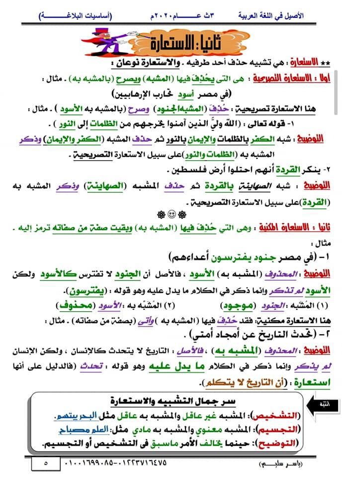 أساسيات البلاغة للثانوية العامة في١٥ورقة أ/ ياسر سليم 5