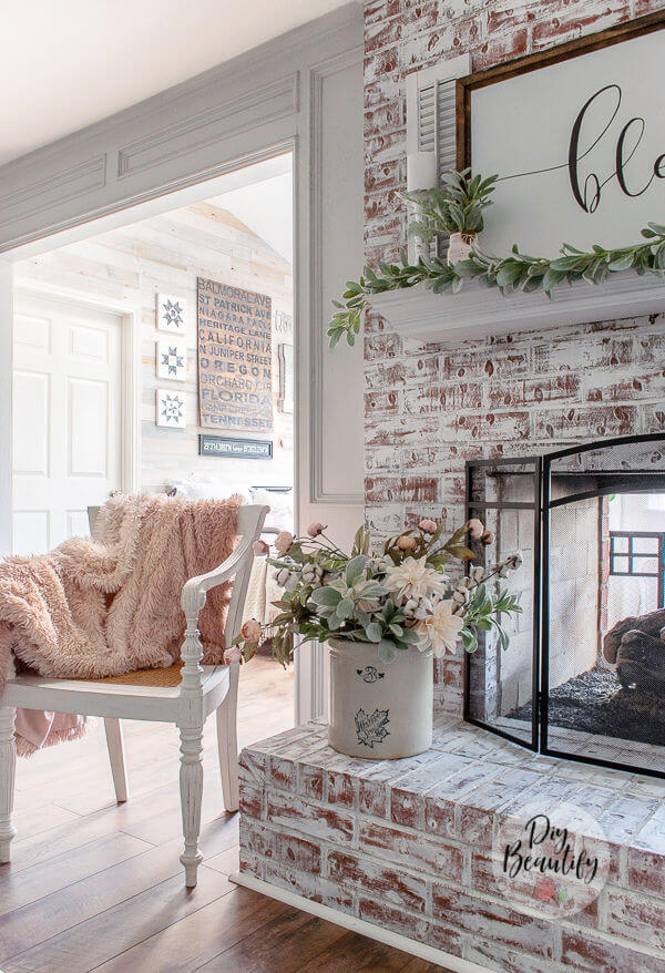 Cottage interior with painted fireplace