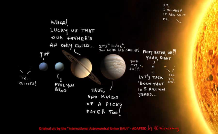 Our Solar System family quarrel (by @sciencemug)