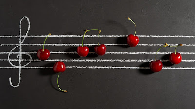 HD wallpaper cherries, notes, music, berries