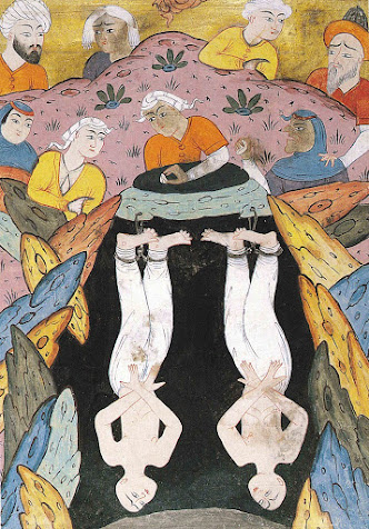 A medieval Persian illustration depicting  Harut and Marut locked away from humans