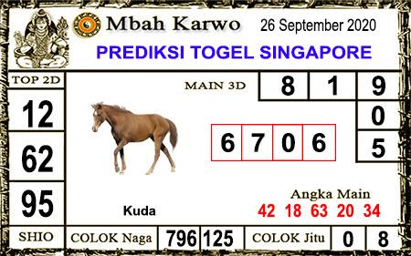Pred Mbah Karwo SGP Sabtu 26 September 2020