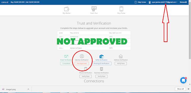 Cara Mengatasi Verifikasi Identitas yang di Tolak di Situs App.Coins.id 100% Approved