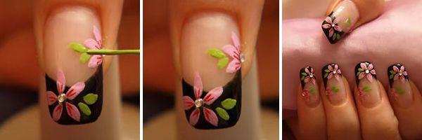 pintando as folhas das flores na unha