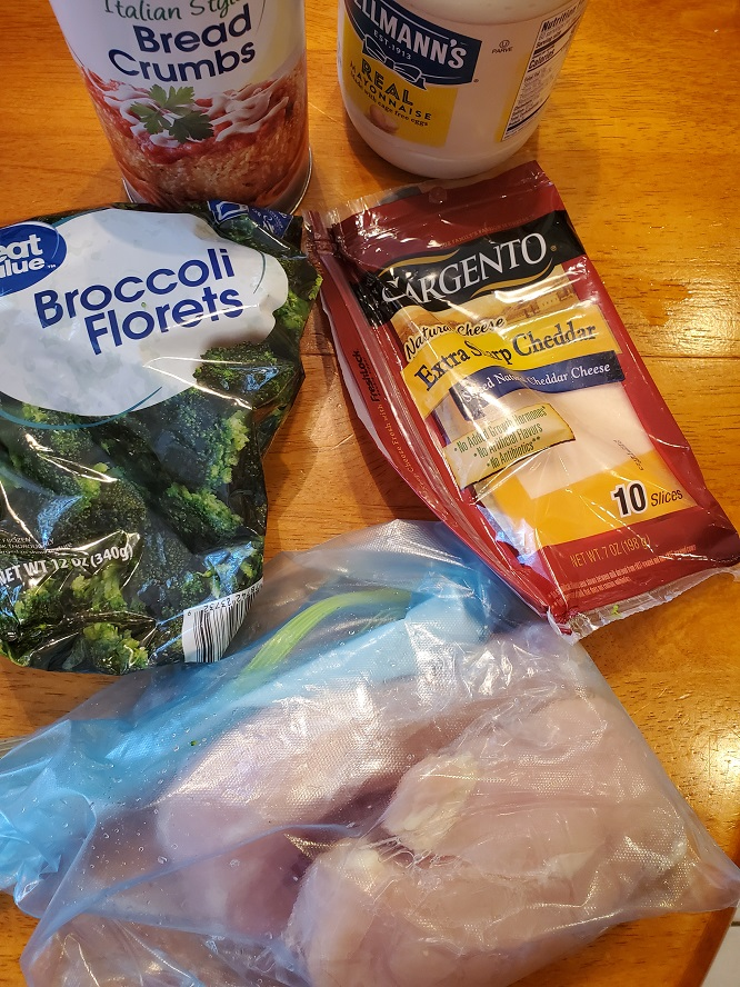 this is the ingredients shown for a broccoli topped chicken breast with cheddar