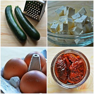 Omlet z cukinią, suszonymi pomidorami i fetą