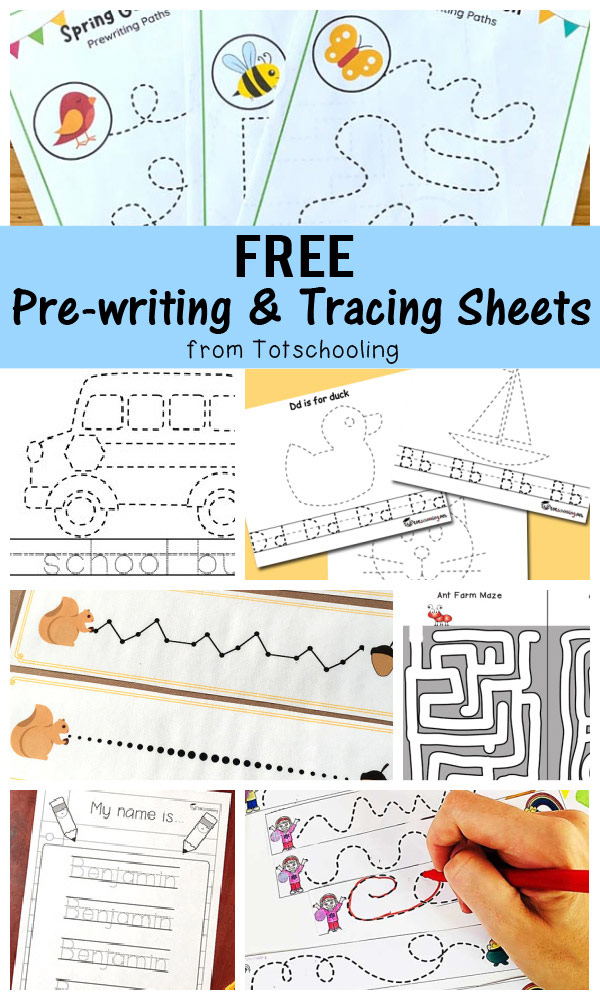 FREE printable pre-writing and tracing sheets for toddlers, preschool and kindergarten kids to practice tracing lines and letters!