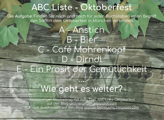 Aktivierungen Soziale Betreuung Abc Liste Oktoberfest