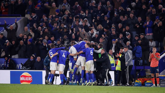 Leicester players celebrates win during a Premier League match
