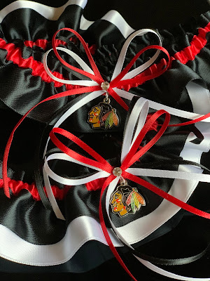 Chicago Blackhawks Wedding Garter Set by Sugarplum Garters