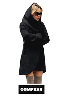 OverDose mujer De Lana con Capucha Delgada Capa Suelto negra