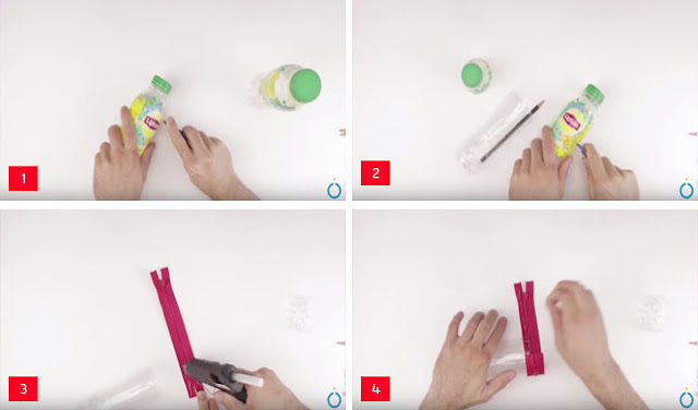 cara membuat kotak pensil dari botol bekas