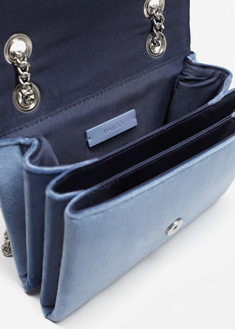pale blue velvet bag with chain