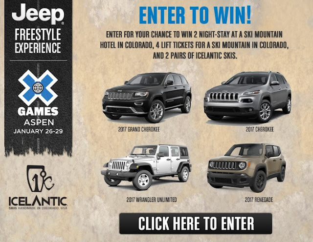 Jeep wants you to enter their FREESTYLE EXPERIENCE SWEEPSTAKES for your chance to win a vacation to Colorado for a spectacular skiing trip for two!