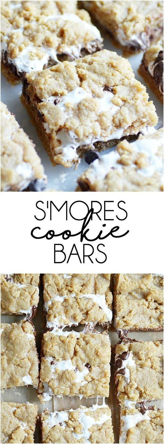 S'mores Cookie Bars #smores #cookie #cookierecipes #bars #dessert #dessertrecipes #easydessertrecipes