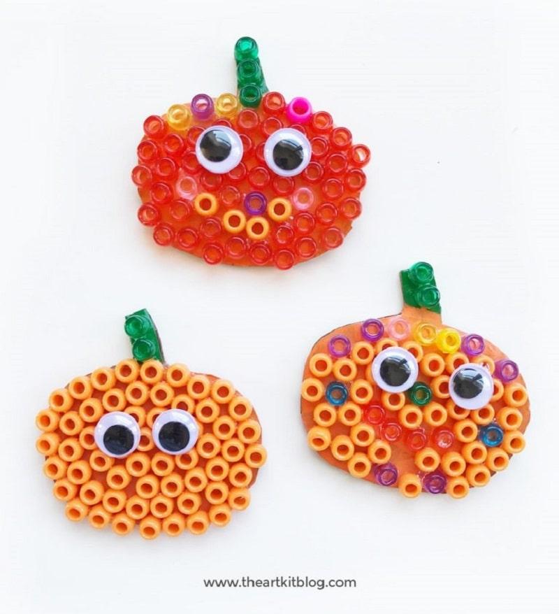 beaded pumpkin craft