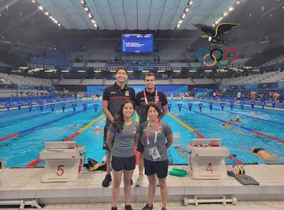 Nadadores bolivianos en Tokio. (Foto: Comité Olímpico Boliviano)
