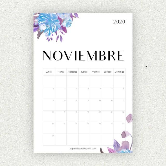 Calendario 2020 de Noviembre para imprimir