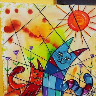 Série ilustrações em tela de Gatos