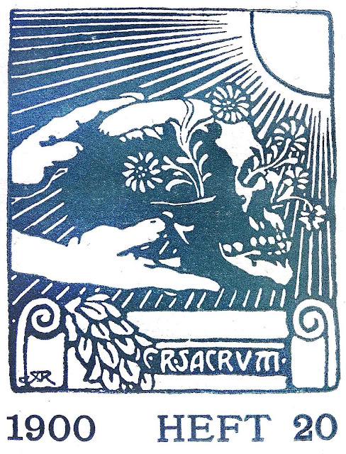 1900 heft 20 Sacrum, a color skull illustration in teal profile