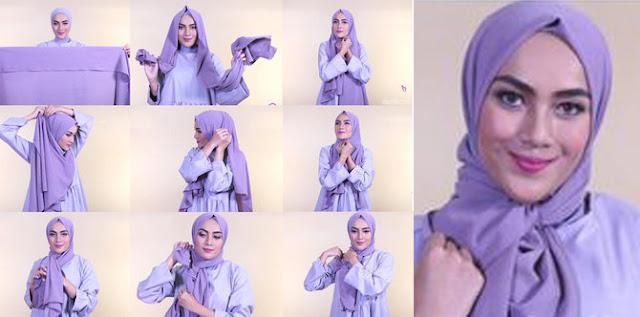 Tutorial Memakai Jilbab Pashmina Pakai Aksen Ikat