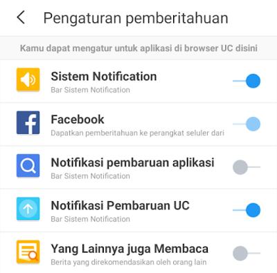 Pengaturan Pemberitahuan UC Browser