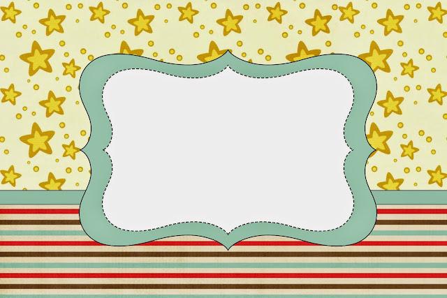 Para hacer invitaciones, tarjetas, marcos de fotos o etiquetas de Estrellas Doradas y Rayas de Colores para imprimir gratis.