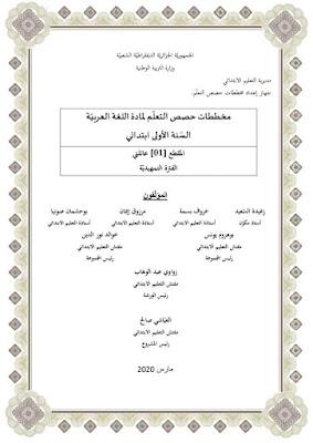 مذكرات الوزارة 2020 - 2021 اللغة العربية للسنة الأولى ابتدائي المقطع الأول - مدونة النجاح التعليمية
