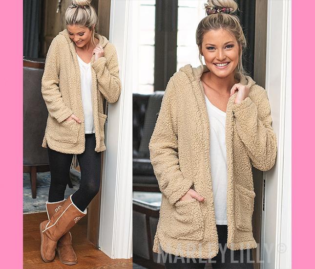 tan cozy hoodie coat