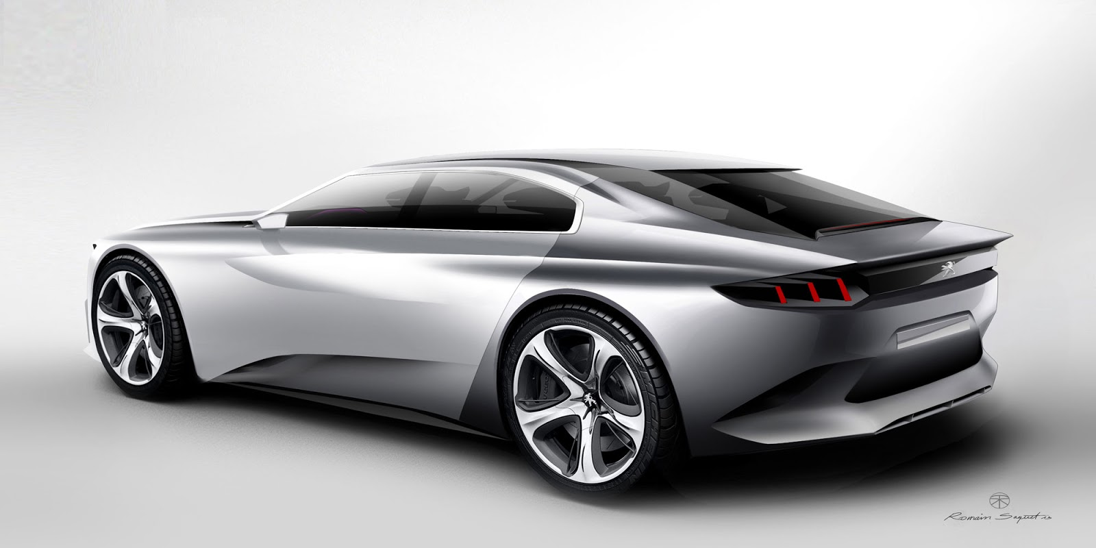 Peugeot Exalt concept rear view, render by Romain Saquet