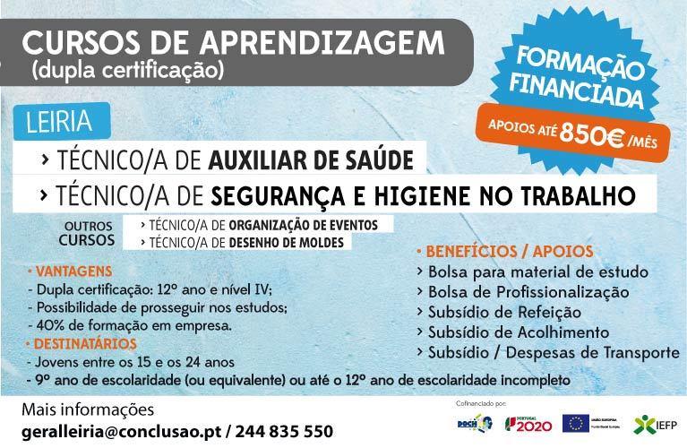 Leiria – Curso de dupla certificação remunerados (Apoios até 850€/mês)