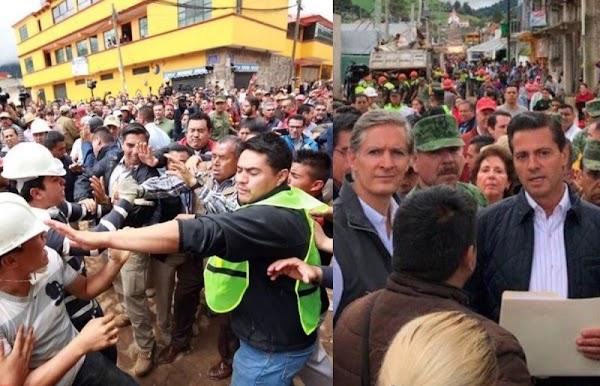 ¡Agarra una pala cabrón! Le recriminan a EPN en zona afectada por el sismo.