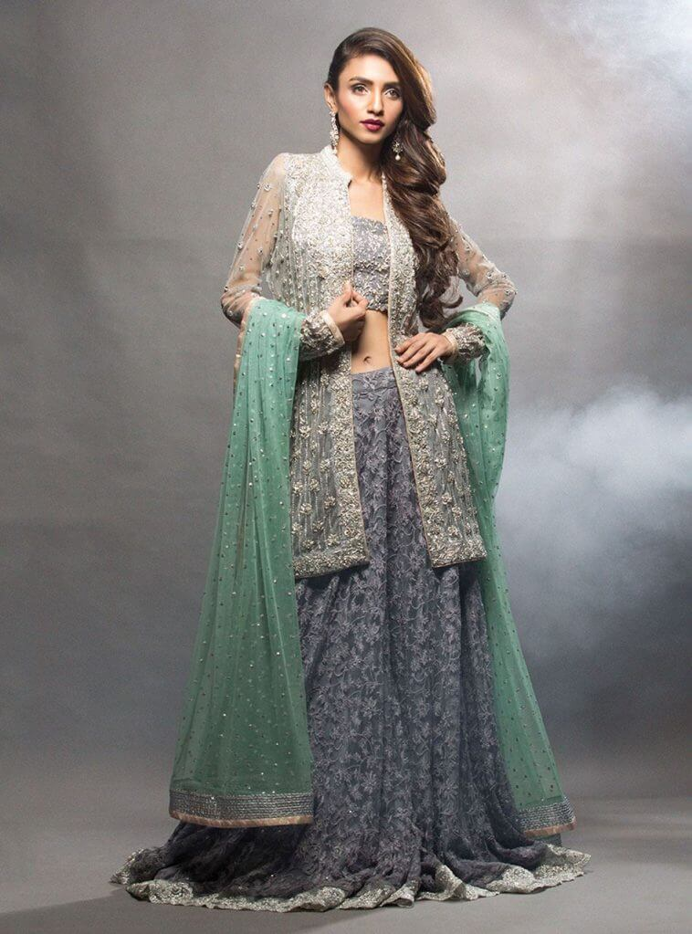 Grey Jacket with Charcoal Grey Dhaka Pakistani Mehndi Dresses by Zainab Chottani Bridal CollectiGrey Jacket with Charcoal Grey Dhaka Pakistani Mehndi Dresses by Zainab Chottani Bridal Collectionon