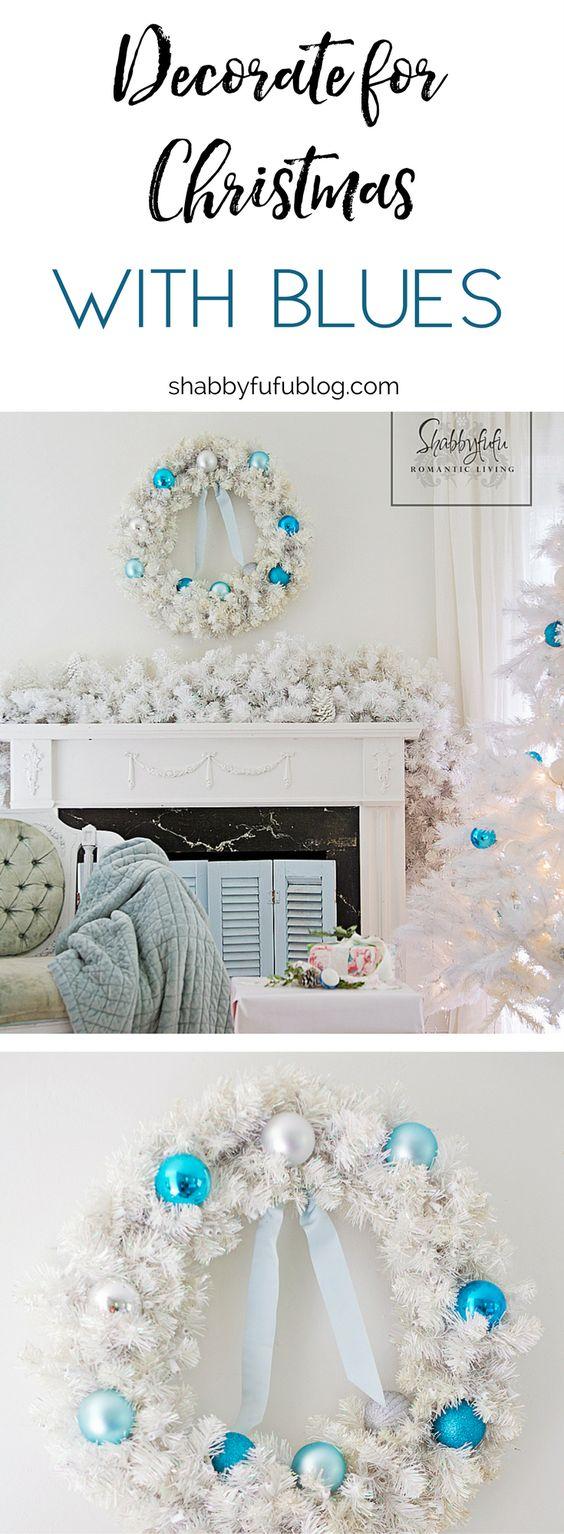 Coastal Christmas Bedroom Decorating - Aqua and Blue- shabbyfufublog.com