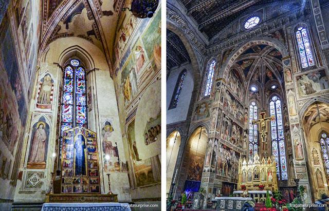 Afrescos de Giotto na Capella Bardi e o altar-mor de Basílica de Santa Croce