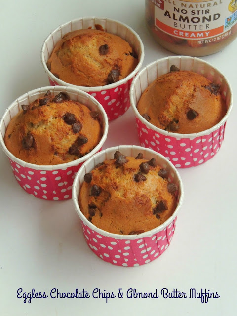 Chocolate chips & ALmond butter muffins - Eggless & Butterless
