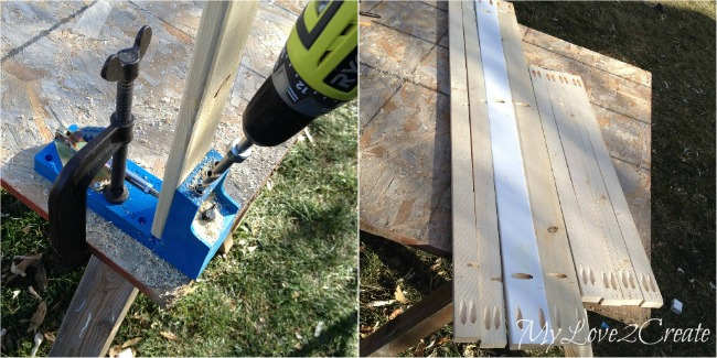 drilling pocket holes to build dog crate from baby crib