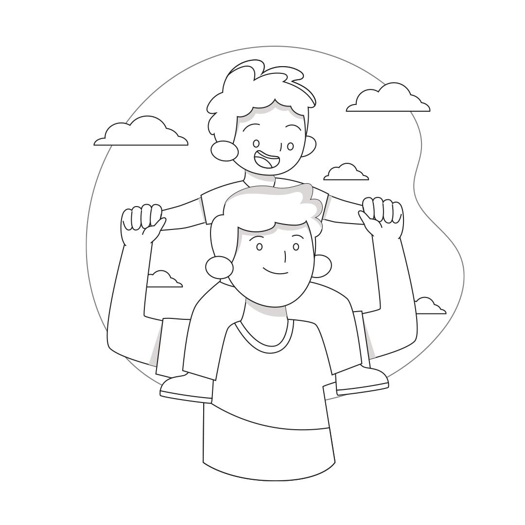 Desenho pai com filho para colorir pronto para imprimir