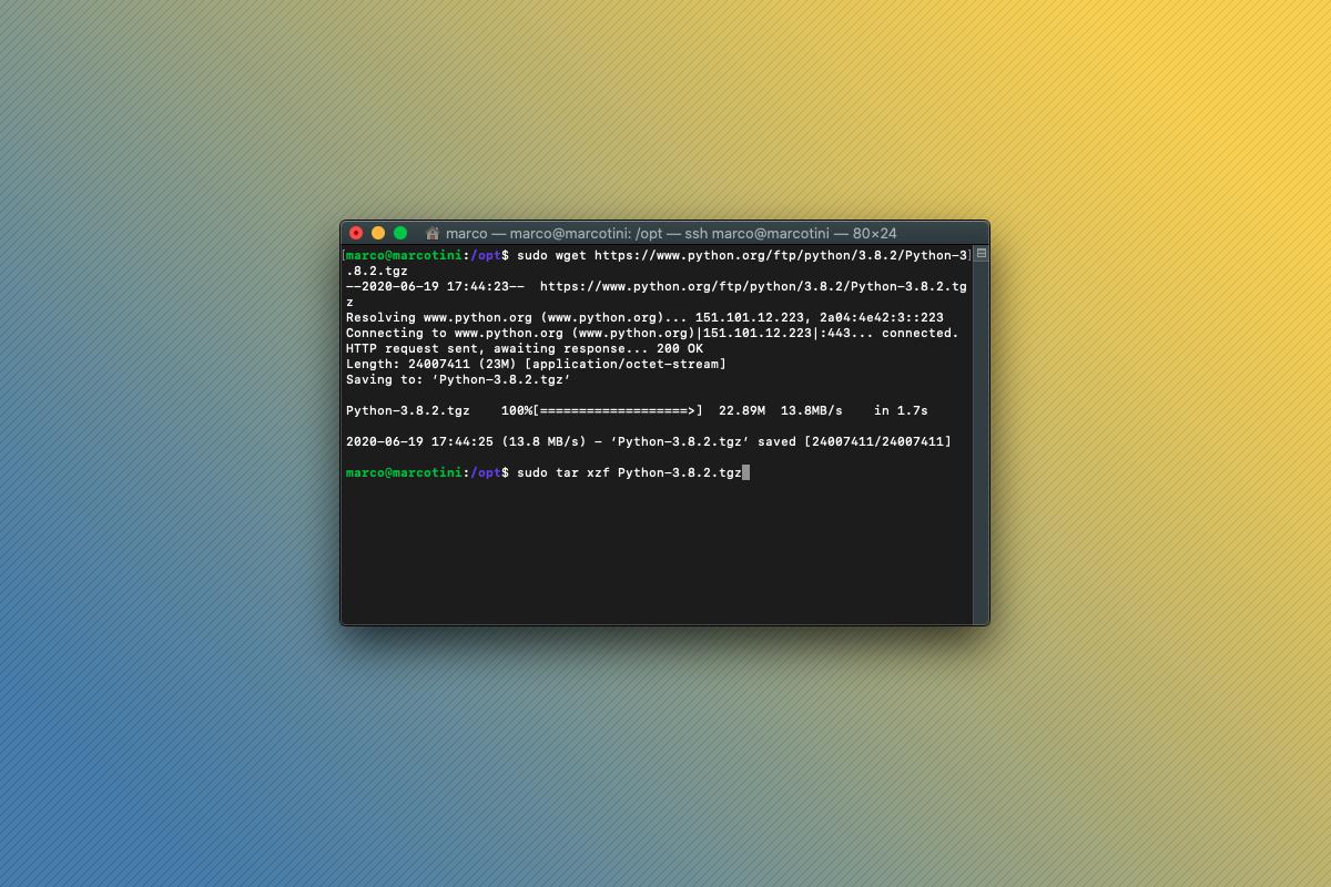 Terminale dopo che il sorgente di Python viene scaricato