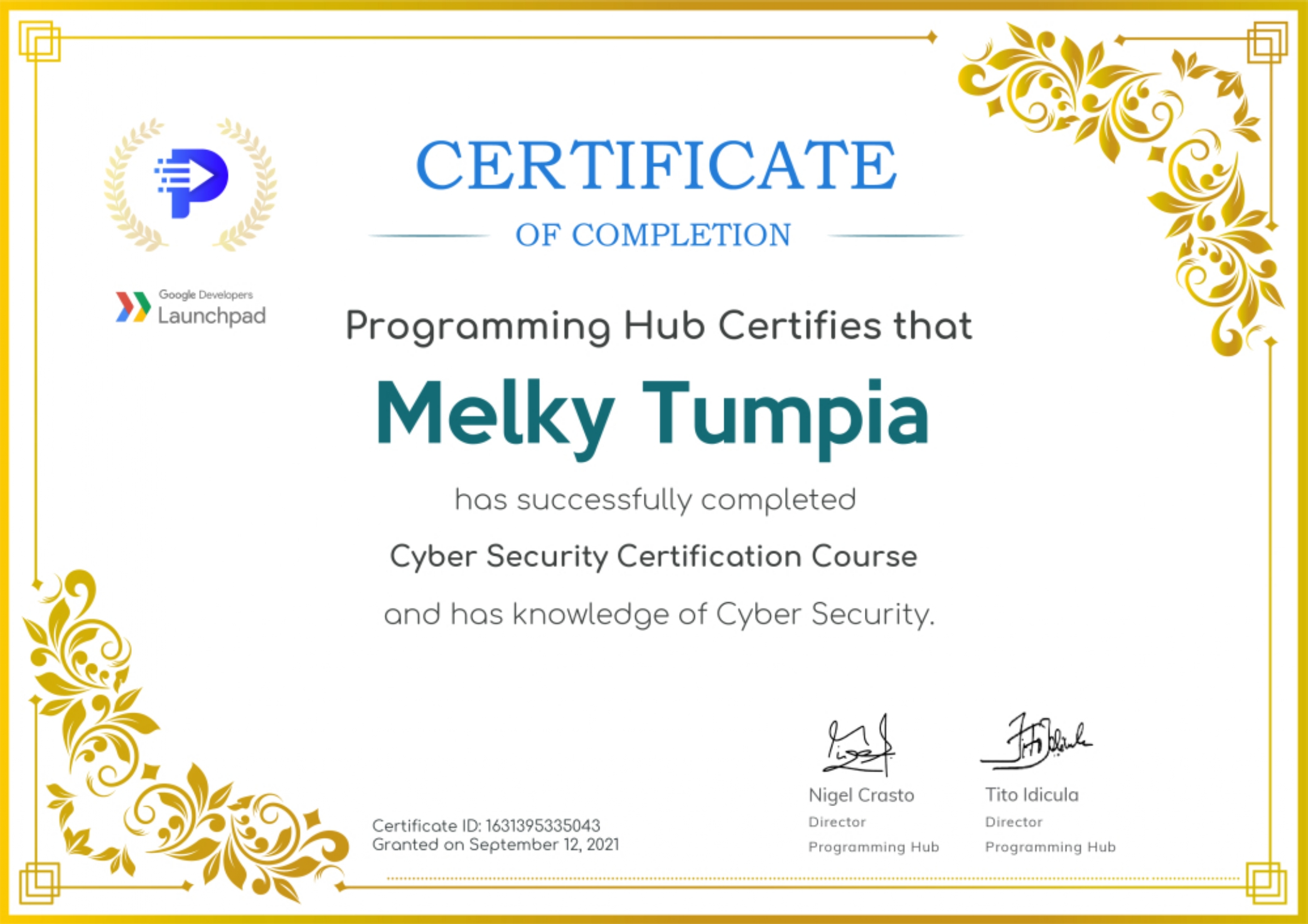 Cybersecurity Certification Course by Google Developers Launchpad and ProgrammingHub