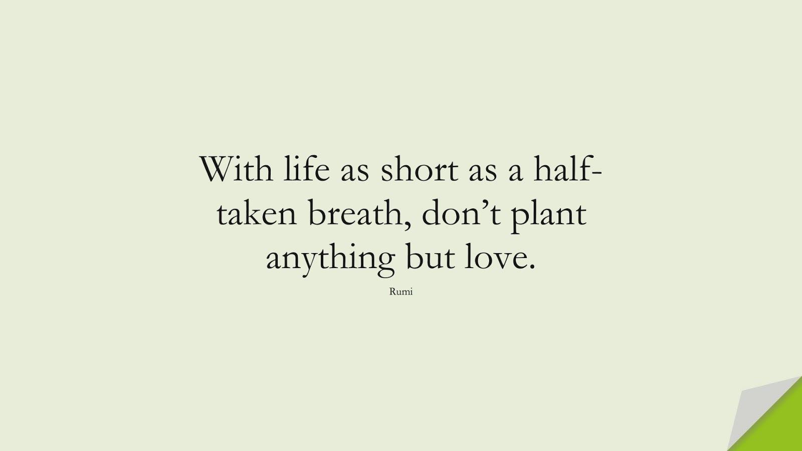 With life as short as a half-taken breath, don't plant anything but love. (Rumi);  #RumiQuotes