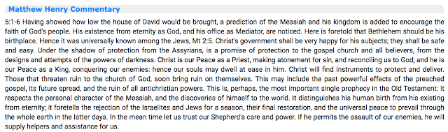 Micah 5:2 Matthew Henry Commentary.