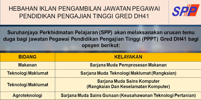 Jawatan Kosong Suruhanjaya Perkhidmatan Pelajaran (SPP)