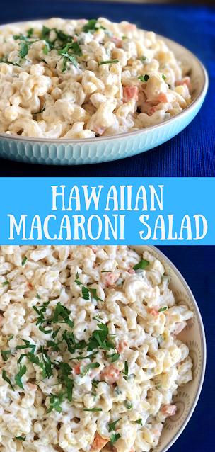 Hawaiian Mac Salad on a blue mat