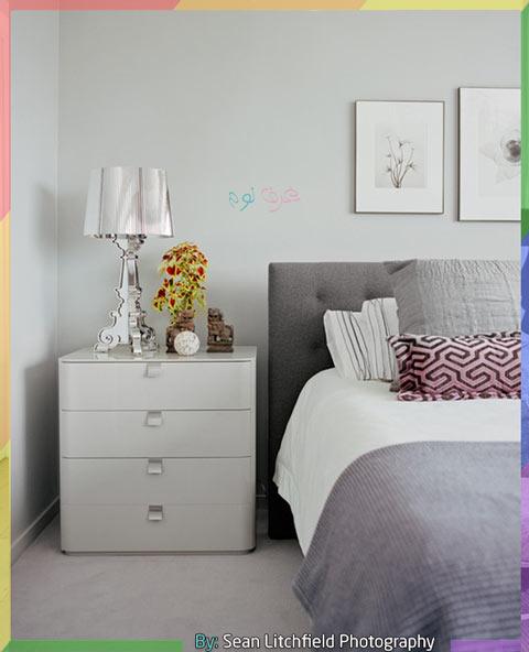 غرف نوم رمادي وابيض