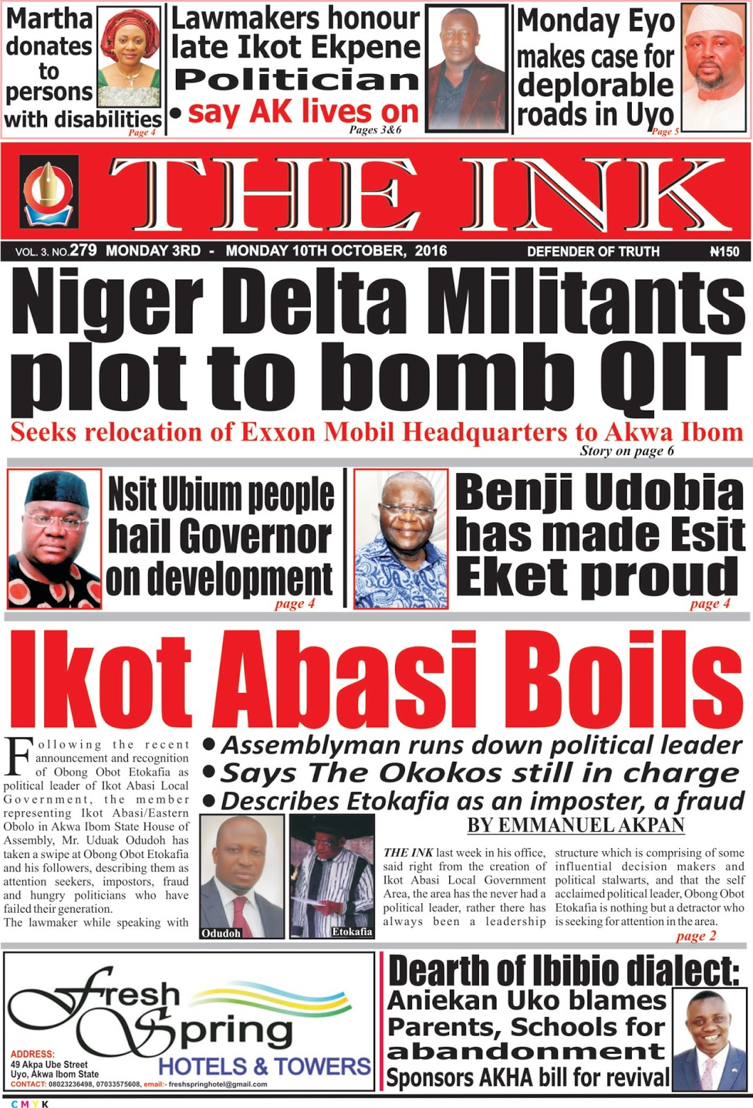 Latest Edition Of The Ink Newspaper Uyo Akwa Ibom State