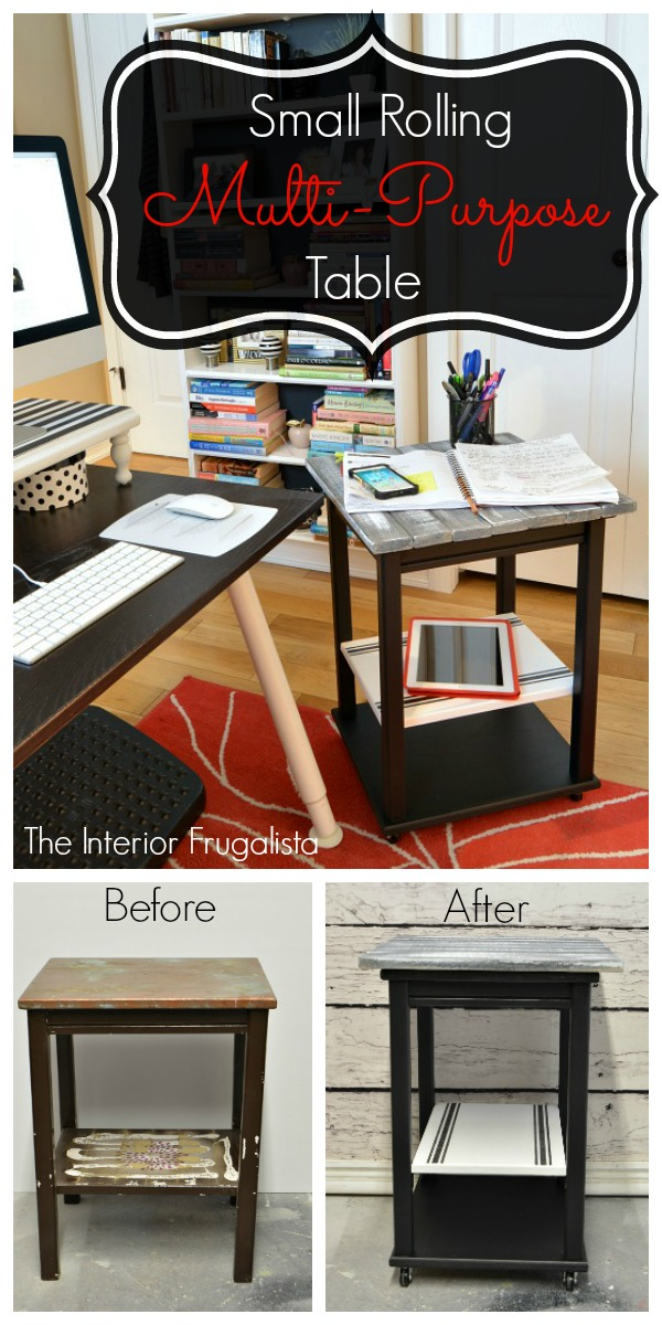 Small Portable Rolling Multi Purpose Table Before and After